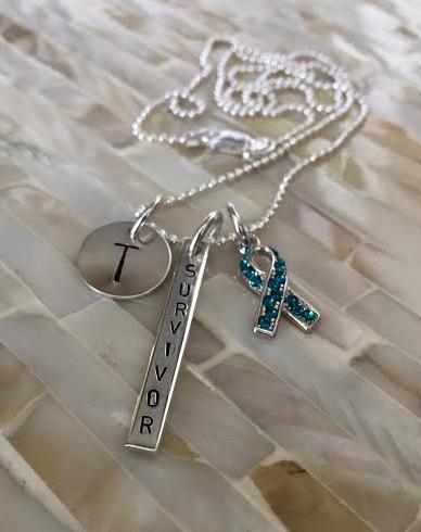 Ovarian Cancer Survivor Necklace Gift Kandsimpressions
