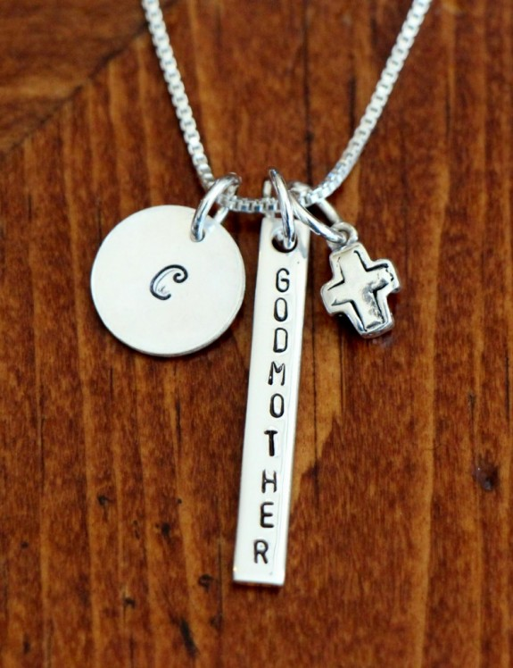Personalized Godmother Necklace With Initial And Cross K