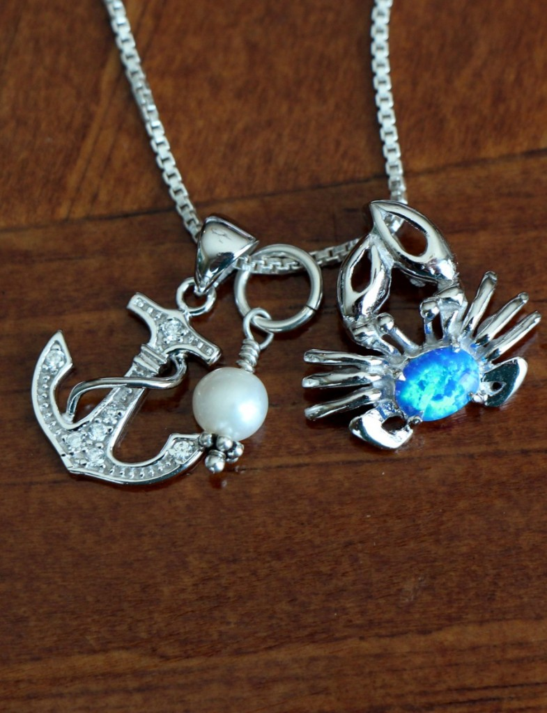 Layered Beach Crab Anchor Necklace Kandsimpressions