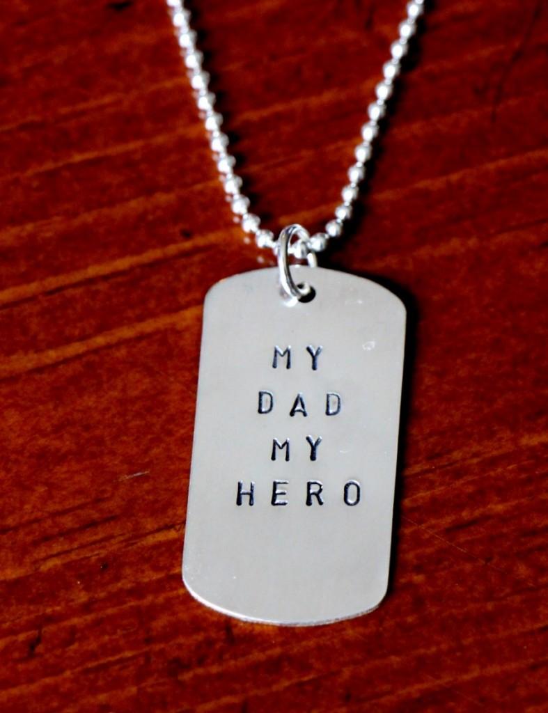 My Dad My Hero Custom Tag Necklace Kandsimpressions