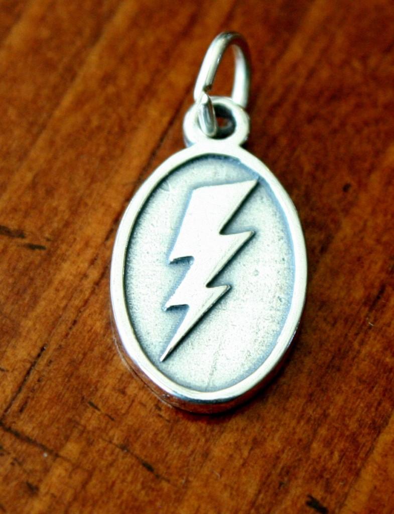 Lightning Bolt Charm Sterling Silver Kandsimpressions