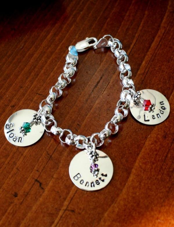 Name Charm Birthstone Bracelet Mothers Jewelry Kandsimpressions