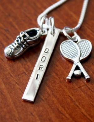 Custom Tennis Player Name Bar Necklace Kandsimpressions