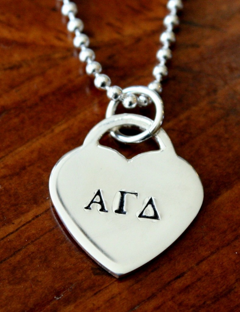 Greek Letters Heart Charm Necklace K Amp S Impressions