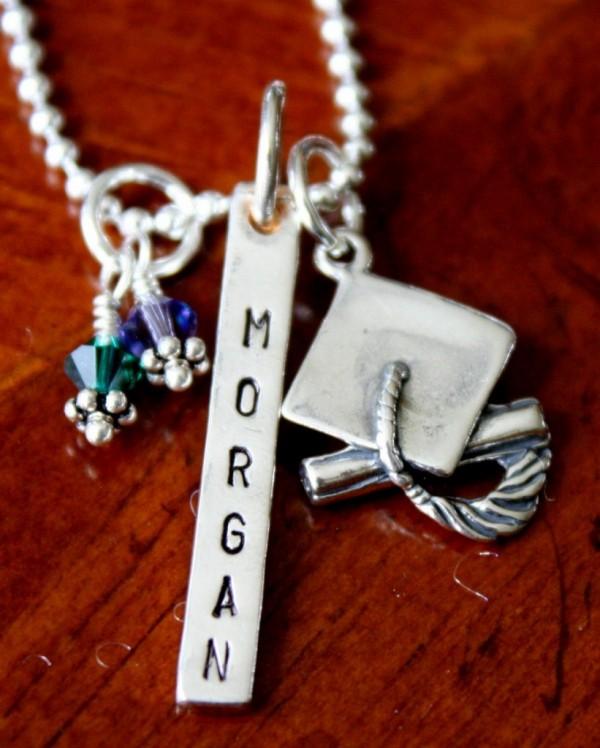 custom graduation necklace for her kandsimpressions