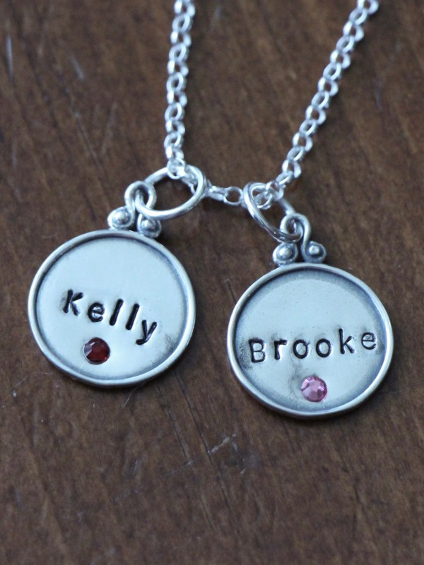 Birthstone Name Charm Necklace Kandsimpressions