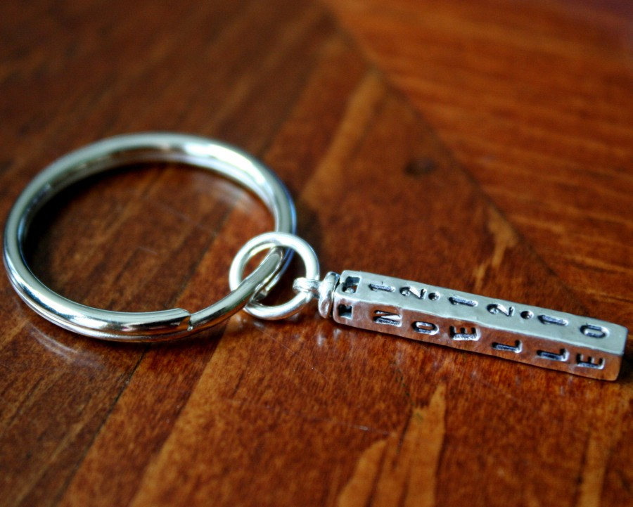 Four Sided Name Date Personalized Bar Keychain