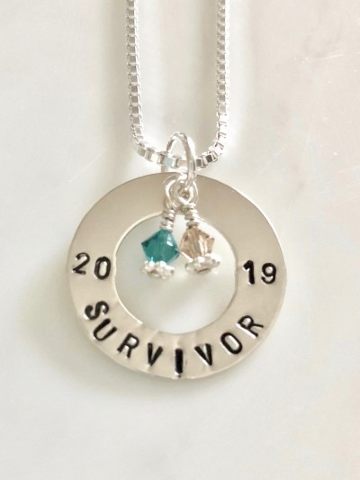 Jewelry Supplies Round Tag Survivor Charm Wholesale Gifts Message Tag Sale Etched Heart Sterling Silver Engraved I/'m a Survivor